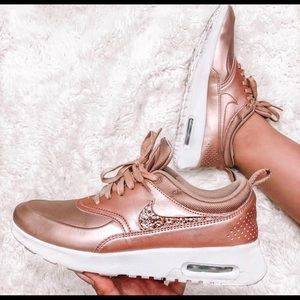 NIKE ROSE GOLD AIR MAX THEAS | SWAROVSKI CRYSTALS